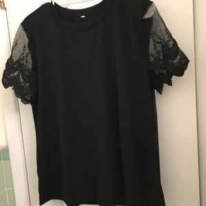 NEW lace sleeve soft black tee